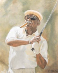 Portrait of 2008 Gold Tee Award winner Charlie Sifford by artist Paul Dillon