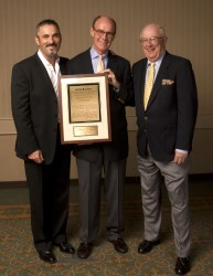 David Feherty and MGWA Board member Dave Anderson flank 2009 Lincoln Werden Golf Journalism Award winner George Peper