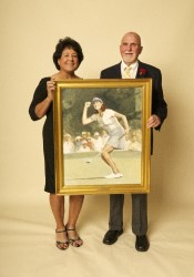 Nancy Lopez and Paul Dillon with her portrait