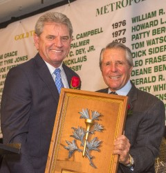 1973 Gold Tee Award recipient Gary Player presents the 2015 Award to Nick Price