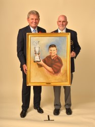 Nick Price accepts his portrait from Paul Dillon