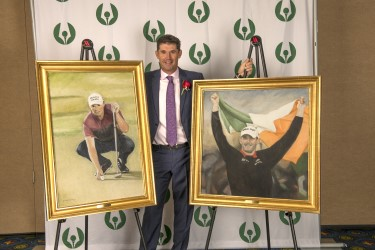 2018 Gold Tee Award recipient Padraig Harrington with two Paul Dillon portraits