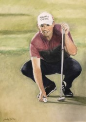 One of two Paul Dillon portraits of Padraig Harrington