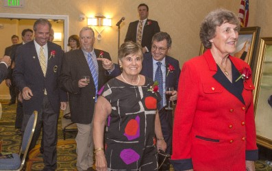 The 2018 Dais enters the room.  From left, former MGA President Michael Sullivan, MGWA Vice President Mark Cannizzaro, former MGWA President Patricia Norton, Lincoln Werden Award winner Hank Gola, Distinguished Service Award winner Carol Semple Thompson