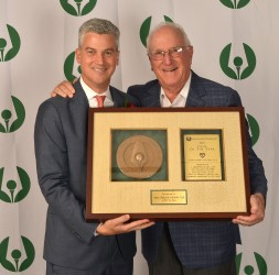 Fresh Meadow Country Club President David Finkelstein and his father Alan with the 2018 Club of the Year Award