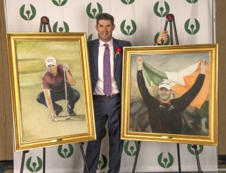 2018 Gold Tee Award winner Padraig Harrington with portraits painted by artist Paul Dillon