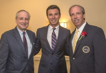 MGA Managing Director of Business Affairs Tom Ott with Dustin Longest of Rolex Watch USA and former MGA President Michael Sullivan at the 2018 National Awards Dinner